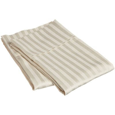 Holeman 300 Thread Count Stripe Pillowcase Pair Size: King, Color: Ivory