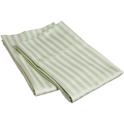 Holeman 300 Thread Count Stripe Pillowcase Pair Size: Standard, Color: Mint