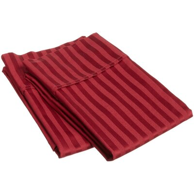 300 Thread Count Stripe Pillowcase Pair Size: King, Color: Burgundy