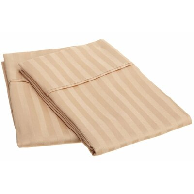 300 Thread Count Stripe Pillowcase Pair Size: King, Color: Beige