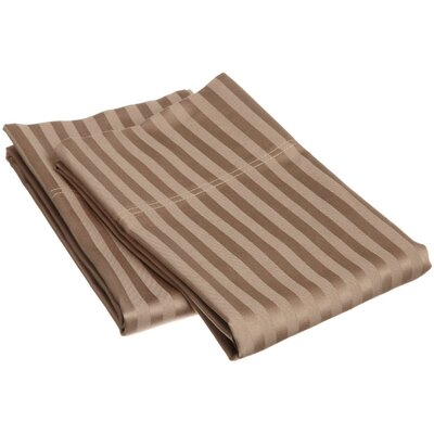 300 Thread Count Stripe Pillowcase Pair Size: King, Color: Taupe