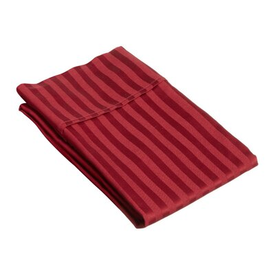 Holford 400 Thread Count Stripe Pillowcase Size: Standard, Color: Burgundy
