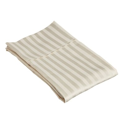 400 Thread Count Stripe Pillowcase Size: King, Color: Ivory