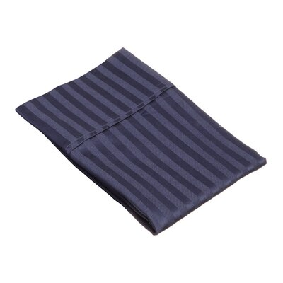 Holford 400 Thread Count Stripe Pillowcase Size: King, Color: Navy Blue