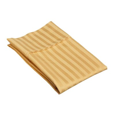 Holford 400 Thread Count Stripe Pillowcase Size: King, Color: Gold