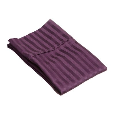 Holford 400 Thread Count Stripe Pillowcase Size: King, Color: Plum