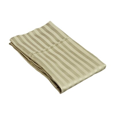 Holford 400 Thread Count Stripe Pillowcase Size: King, Color: Sage