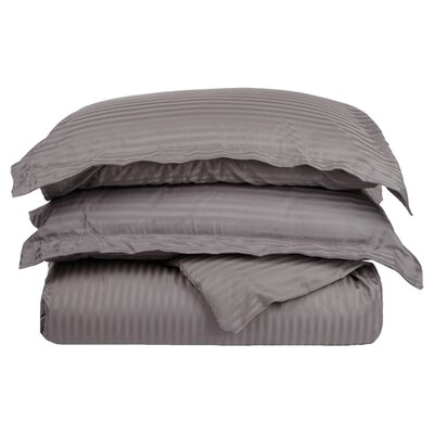 Stripe Duvet Cover Set Size: Full / Queen, Color: Gray
