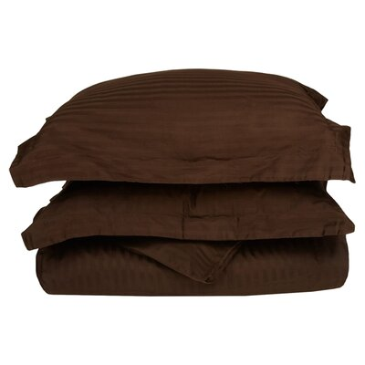 Stripe Duvet Cover Set Size: Twin, Color: Mocha