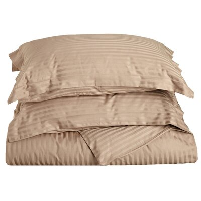 Stripe Duvet Cover Set Size: Twin, Color: Taupe