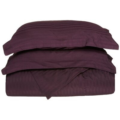 Stripe Duvet Cover Set Size: Full / Queen, Color: Plum