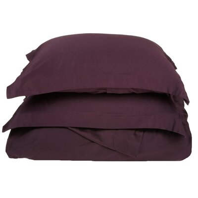 Cotton 3 Piece Twin Duvet Cover Set Size: Full / Queen, Color: Plum
