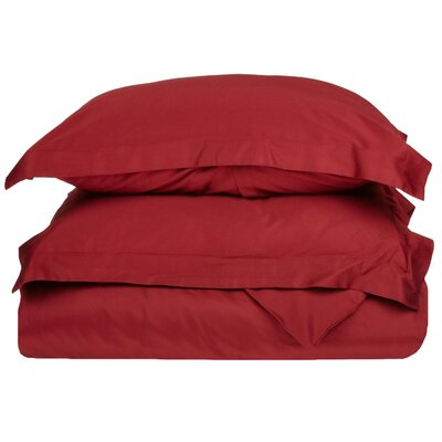 Cotton 3 Piece Twin Duvet Cover Set Size: Twin, Color: Burgundy