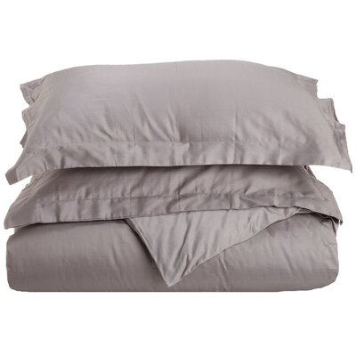 Cotton 3 Piece Twin Duvet Cover Set Color: Gray, Size: Twin XL