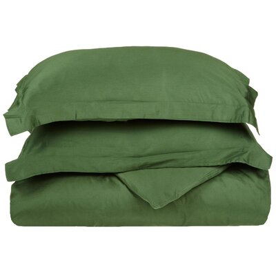 Cotton 3 Piece Twin Duvet Cover Set Size: Twin, Color: Hunter Green