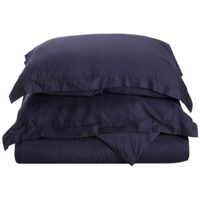 Cotton 3 Piece Twin Duvet Cover Set Color: Navy Blue, Size: Twin XL