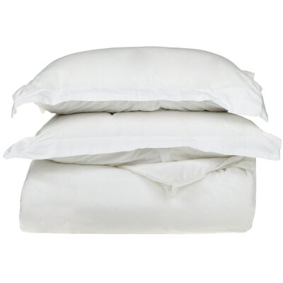 Cotton 3 Piece Twin Duvet Cover Set Size: Twin, Color: White