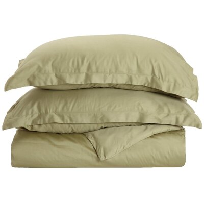 Cotton 3 Piece Twin Duvet Cover Set Color: Sage, Size: Twin XL