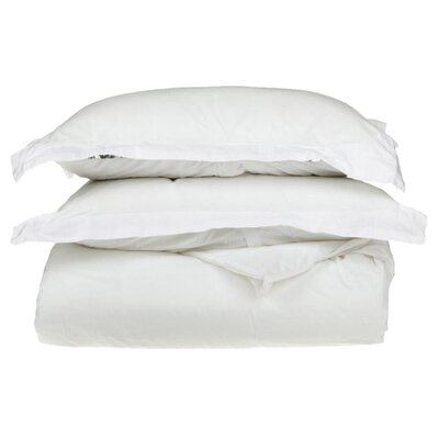 100% Egyptian-Quality Cotton 3 Piece Duvet Set Size: Full/Queen, Color: White