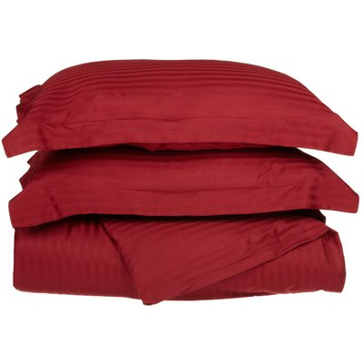100% Egyptian-Quality Cotton 3 Piece Duvet Set Size: Full/Queen, Color: Burgundy