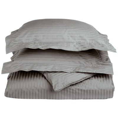 100% Egyptian-Quality Cotton 3 Piece Duvet Set Size: Full/Queen, Color: Grey