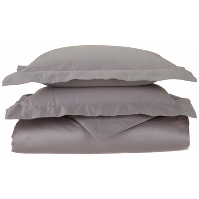 1500 Thread Count Premium Long-Staple Combed Cotton Solid 3 Piece Duvet Cover Set Size: Full/Queen, Color: Grey