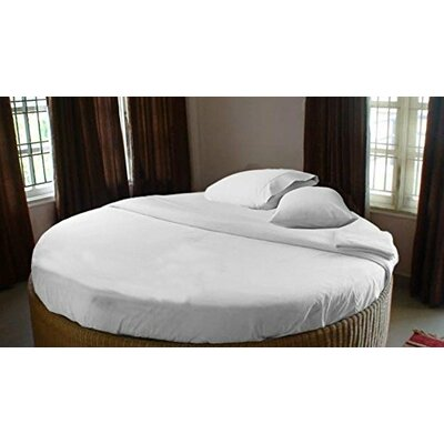 400 Thread Count Egyptian Quality Cotton Round Bed Sheet Set Color: White, Size: 96 W x 96 D