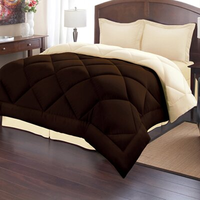 Reversible Down Alternative Comforter Size: King, Color: Chocolate/Cream