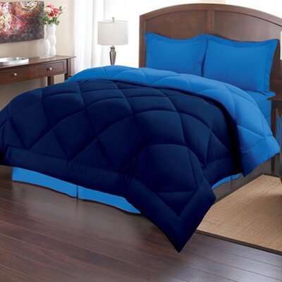 Reversible Down Alternative Comforter Size: Full/Queen, Color: Navy/Regatta
