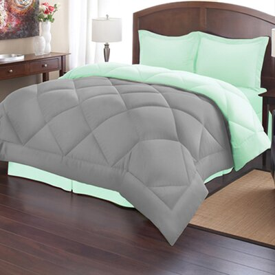 Reversible Down Alternative Comforter Size: Full/Queen, Color: Mint/Gray