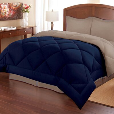 Reversible Down Alternative Comforter Size: Full/Queen, Color: Patriot Blue/Stone