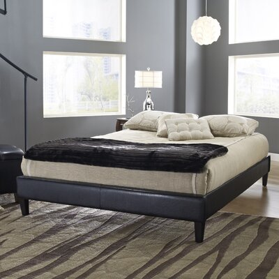 Upholstered Platform Bed Size: Full, Color: Black