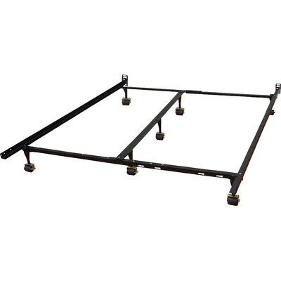 Heavy Duty Adjustable Metal Bed Frame with Double Rail Center Bar and 7-Locking Rug Rollers