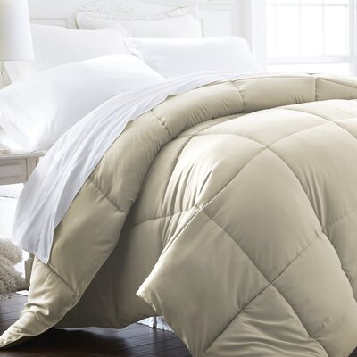 Becky Cameron Plush All Season Down Alternative Comforter Color: Ivory, Size: Full / Queen