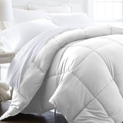 Becky Cameron Plush All Season Down Alternative Comforter Color: White, Size: Full / Queen