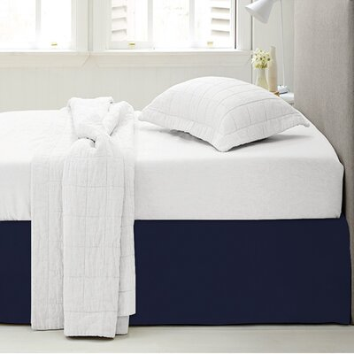 Microfiber 1500 Thread Count Bedskirt-Dust Ruffle Size: Twin, Color: Navy