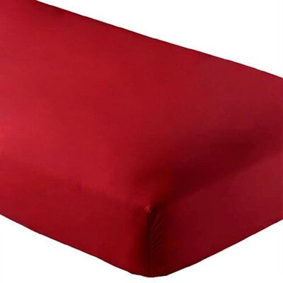 Wrinkle Resistant 200 Thread Count Fitted Sheet Size: Twin XL, Color: Red