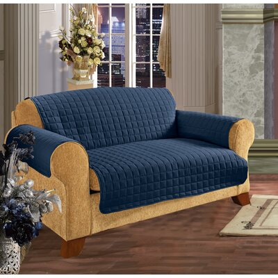 Box Cushion Sofa Slipcover Upholstery: Navy Blue