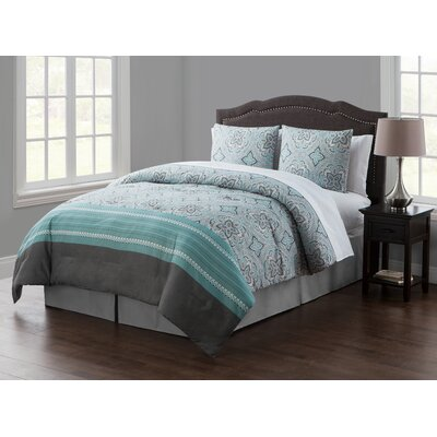 8 Piece Bed in a Bag Set Color: Light blue, Size: King