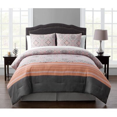 8 Piece Bed in a Bag Set Color: Coral, Size: Queen