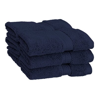 Superior Hugo 6 Pieces Washcloth Towel Set Color: Navy Blue