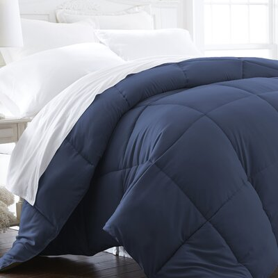 Plush All Season Down Alternative Comforter Color: Navy, Size: Full / Queen