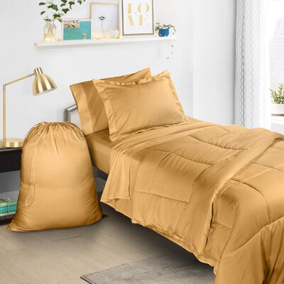 6 Piece Bed-In-a-Bag Set Color: Camel Gold
