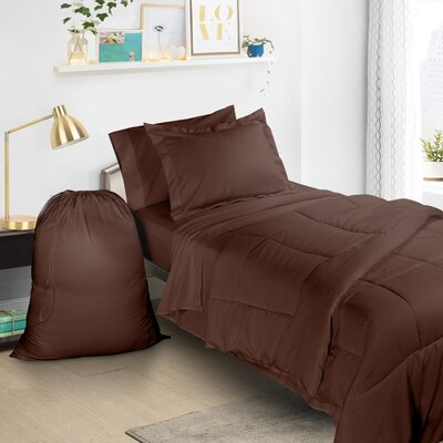 6 Piece Bed-In-a-Bag Set Color: Chocolate