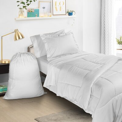 6 Piece Bed-In-a-Bag Set Color: White