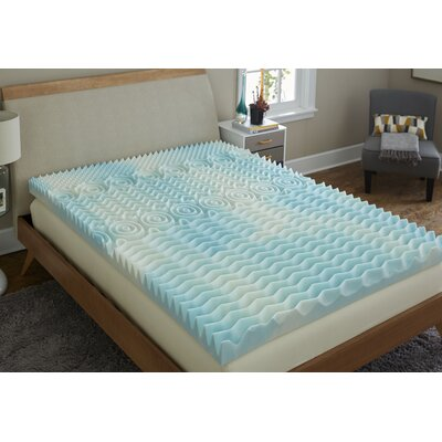 Reversible 4 Gel Foam Mattress Topper Bed Size: Queen