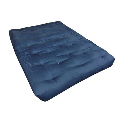 9 Foam and Cotton Loveseat Size Futon Mattress Upholstery: Blue
