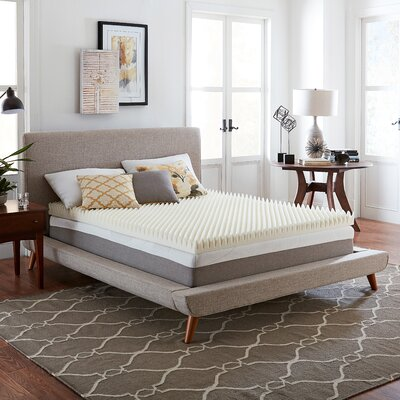 Wayfair Basics 4 Textured Memory Foam Mattress Topper Bed Size: King