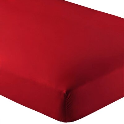 Ultra-Soft Luxury Microfiber Fitted Sheet Color: Red, Size: Queen