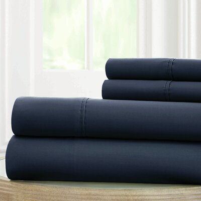 Solid Microfiber Sheet Set Size: California King, Color: Navy